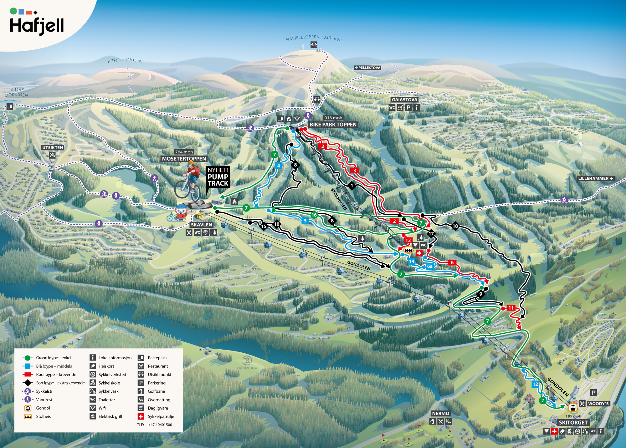 Hafjell bike park map