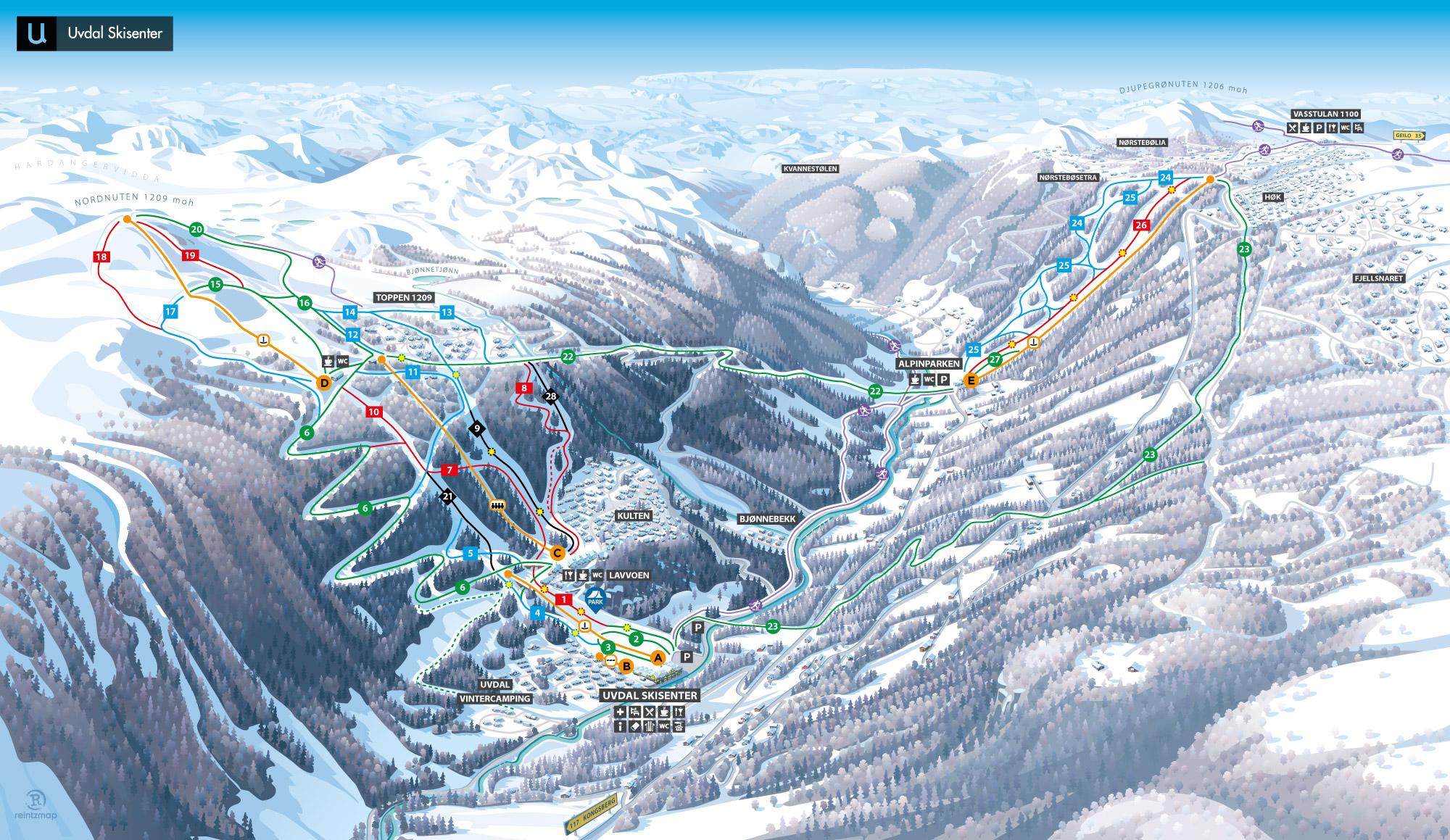 Uvdal ski map